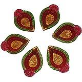 Aditya Diwali Diya / Set Of 6 Diyas / Hand Painted Diya / Oil Lamps / Designer Decorative Diyas / Diwali Gift Sets - B075ZSH66J