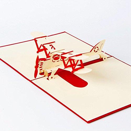 uniqueplus Fighter Flugzeug Creative 3D Pop up Grußkarte Geschenk Karten für Geburtstag oder jeden Anlass (rot)