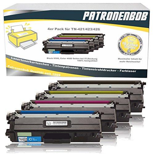 4er Pack Patronenbob® XL Toner kompatibel TN-421 / TN-423 für Brother DCP-L8410CDW, HL-L8260CDW, HL-L8360CDW, MFC-L8690CDW, MFC-L8900CDW, TN421, TN423