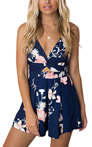 Gorgeya Women Playsuit Summer Sexy V Neck Short Jumpsuit Backless Sleeveless Spaghetti Strap Floral Print Romper Suits for Ladies Beach Party Holiday Wedding