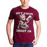 Les Gardiens de la Galaxie - T-shirt pour hommes Groot - Coton - Bordeaux - Elbenwald - L