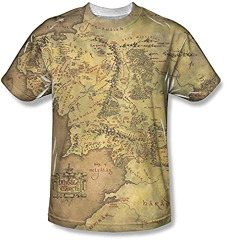 Lord of the Rings - Der Herr der Ringe - Jugend Middle Earth Map T-Shirt, X-Large, White