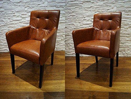 "Echtleder Esszimmerstühle Massivholz Stühle ""David Arm Pik"" Lederstühle Sessel mit Armlehnen Echt Leder ""Antique Tabac"" Esszimmer Stuhl"