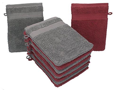 BETZ lot de 10 gants de toilette taille 16x21 cm 100% coton Premium couleur rouge foncé et gris anthracite