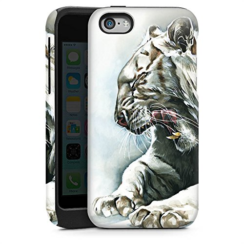 Apple iPhone 5s Housse Étui Protection Coque Blanc Blanc Tigre Cas Tough brillant