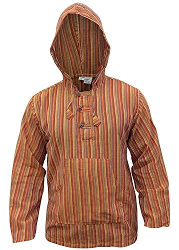 Shopoholic Fashion Mehrfarbig dharke Streifen Opa Kapuzenpulli Hemd, leicht - orangemischung, Large -