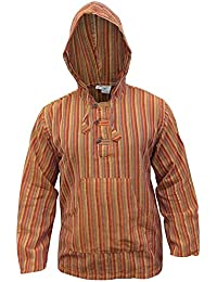SHOPOHOLIC FASHION Multicolor Dharke Stripe Grandad Hoodie Shirt,Light Weight
