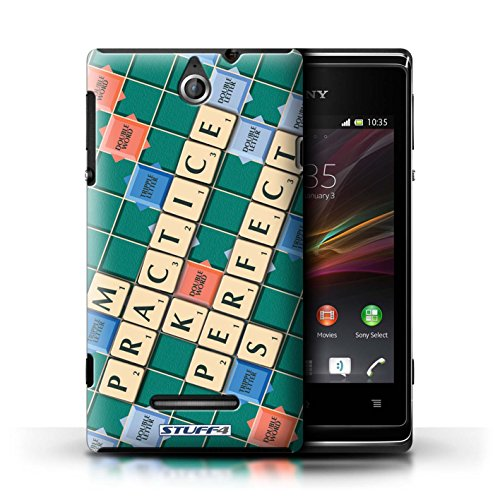 Kobalt® Imprimé Etui / Coque pour Sony Xperia E / Aucun Douleur Gain conception / Série Mots de Scrabble Pratique Parfaite