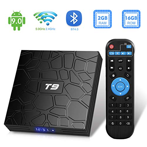 Android TV Box, T9 Android 9.0 TV Box 2 Go RAM/16 Go ROM RK3318 Quad-Core Support 2.4/5.0 GHz WiFi BT4.0 4K 3D HDMI DLNA...