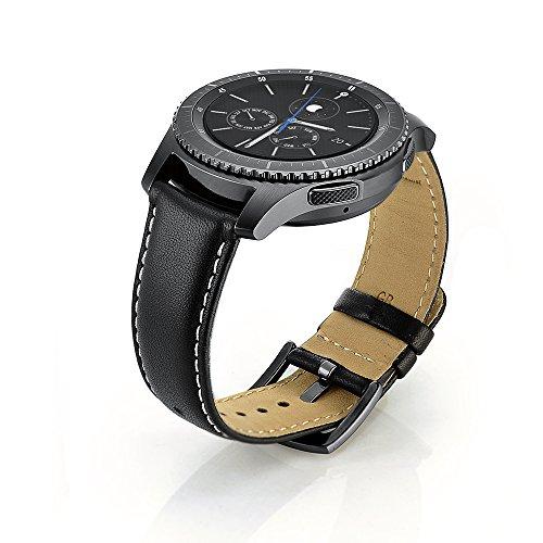 sundaree Compatible avec Galaxy Watch 46mm/Gear S3 Frontier/Classic Bracelet,22MM Bracelet de Montre Remplacement Bande de Poignet en Cuir Veritable Pour Samsung Galaxy Watch 46mm/Gear S3(Black)