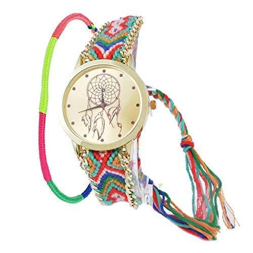 SSITG Reloj analógico para Mujer Number-15Reloj Cuarzo Pulsera Cadena Weaved Pulsera Elefante Dream Catcher Mujer Reloj Reloj de Pulsera
