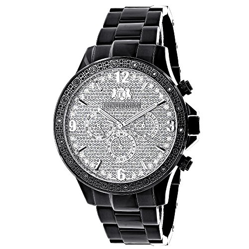 LUXURMAN Watches: Liberty Mens Real Diamond Watch 0.2ct Black