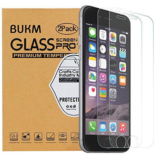Preisvergleich Produktbild Bukm 2 Stück iPhone 6 Plus/6S Plus Panzerglas Schutzfolie, 9H Härte Displayschutz 0.3mm Ultradünner 99% Ultra-klar Anti-Fingerabdruck Display Schutzfolie Cover für iPhone 6 Plus 6S Plus