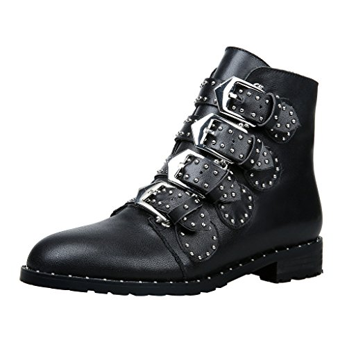 ELEHOT Donna Elehi tacco a blocco 3CM Leather Stivali, nero, 39.5