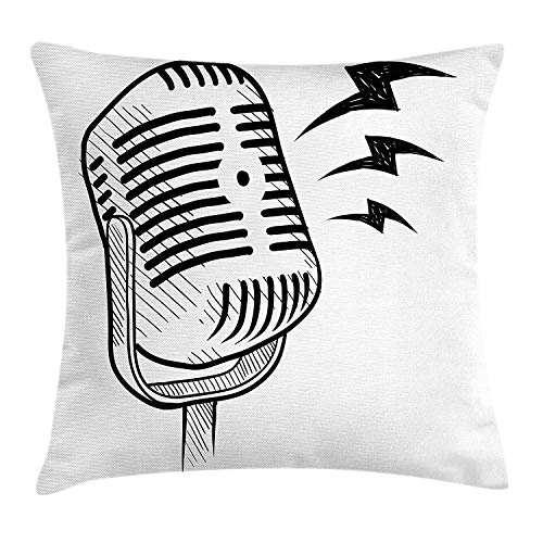 ZTLKFL Doodle Throw Pillow Cushion Cover, Retro Microphone Communication and Media Concept Radio Show Speech Talk Podcast, Decorative Square Accent Pillow Case, 18 X 18 inches, Black White -