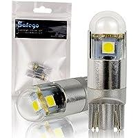 Safego 2x T10 W5W 3SMD 3030 LED Ampoule 168 194 Wedge Feux Lumière Blanc Pour Voiture Lampes de lecture de plaques d'immatriculation Lumières Lampes Imperméable AC 12V 6000K