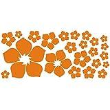 ufengke 23-Pezzi Piccoli Fiori Adesivi Murali, Camera da Letto Soggiorno Adesivi da Parete Removibili/Stickers Murali/Decorazione Murale, Arancione