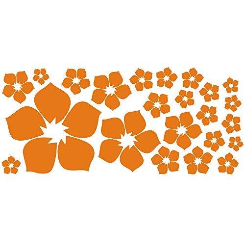 ufengke® 23-pezzi piccoli fiori adesivi murali, camera da letto soggiorno adesivi da parete removibili/stickers murali/decorazione murale, arancione