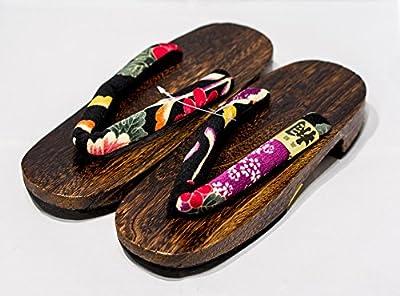 [Japón Hecho] Geta Paulownia sandalias de madera tradicional de calzado sakura-black Talla L