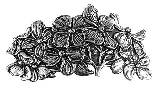 Oberon Design Dogwood Hair Clip | Pasador, Broche de Pelo | Barrette de metal hecho a mano con clips franceses