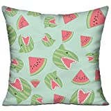 """Jolly2T Funny Watermelon Shark Mint Green Square Pillow Covers Cushion Case for Sofa Bedroom Car - Inserts Are Not Included - 18"""" X 18"""""""