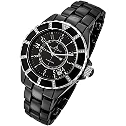 Rougois Women's High Tech Black Ceramic Watch with 36 Genuine Diamonds