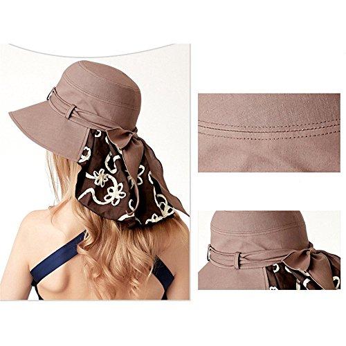 Femmes Mode Été Extérieur Décoration Bowknot Anti-Uv Pliage Large Rebord Chapeau De Soleil Chapeau De Seau Marron