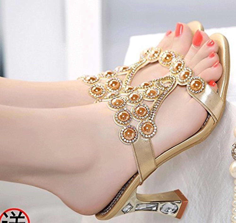 Tongs pour Femmes Diamant Diamant Diamant Artificiel épais avec Talon Haut Bout Ouvert au Talon Moyen (coloré : d'or, Taille :... afbfbf