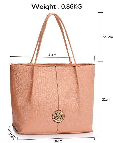 LeahWard® Damen Groß Einkaufstaschen Damen Mode Essener Schlange Bewirken Haut Handtaschen Qualität Tasche CWS00454 CWS00454-nackt/Rosa