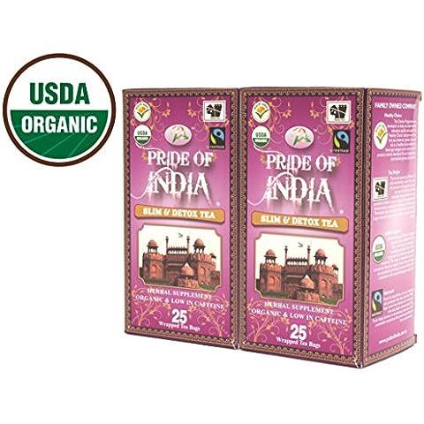 Pride Of India - Organic Slim & Detox Tea, 25 Count (2-Pack): BUY 1 GET 1 FREE (4 BOXES TOTAL)