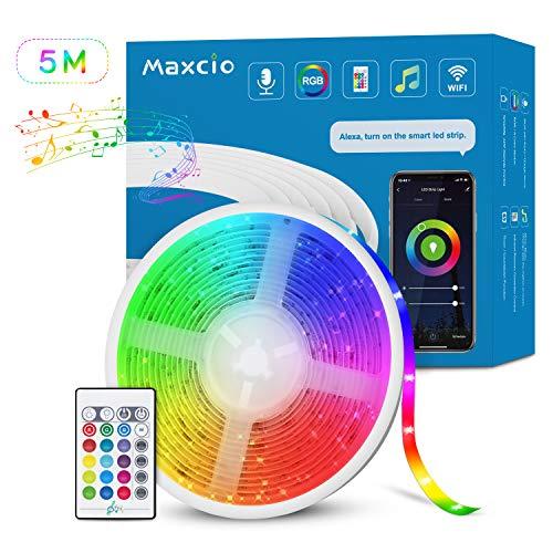 Alexa LED Ruban Musical WiFi, Maxcio Bande LED RGB 5M Étanche Compatible avec Alexa et Google Home,...
