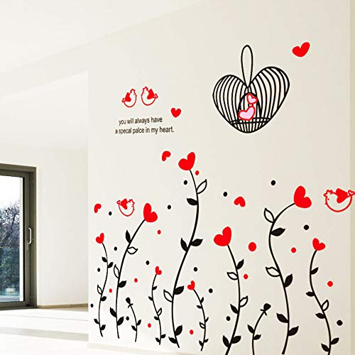 Mode Diy Rote Liebe Herz Blume Rebenkäfig Niedlichen Vogel Wandaufkleber Schlafzimmer Wohnzimmer Sofa Wand Home Decor Abnehmbare Kunst Aufkleber
