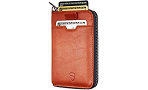 Vaultskin Notting Hill Schlanke Brieftasche mit Reißverschluss und RFID Schutz. Geldbörse für Kreditkarten Bargeld Münzen