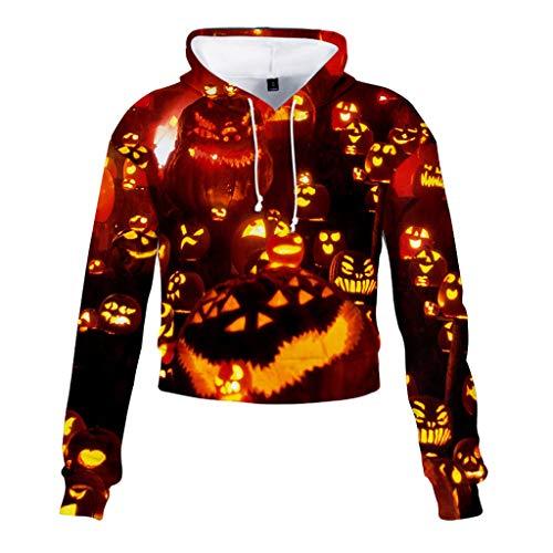 Kostüm Engel Land - Halloween Kostüm Damenmode Halloween Fledermauskragen Patchwork Brief Drucken Sweatshirt Langarm Oberteil Kapuzen Hoodie Bluse Tops Pullover Shirt Blusenoberteile Blusenhemd(Orange,EU-32/CN-XS)