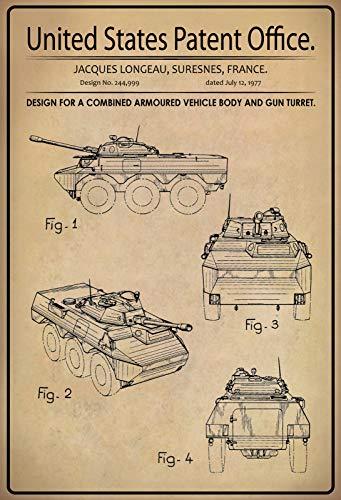 Blechschild Patent Entwurf gepanzerte Fahrzeugkarosserie und Geschützturm Metallschild Dekoschild tin Sign (Geschützturm)