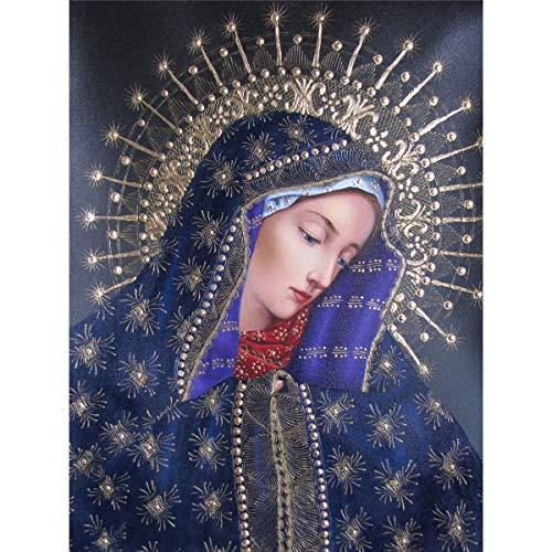 Sunnay Pintura de Diamante,Virgen 5D DIY Diamond Painting Cross-Stitch Kit Completo,Decoración de la Arte,30 x 40 cm