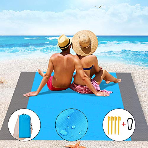 IvyLife Coperta da Spiaggia Picnic Portatile Impermeabile 210 x 200 cm Telo Tappeto da...