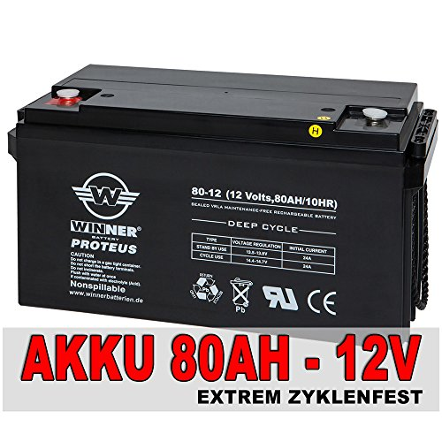 Preisvergleich Produktbild 80Ah Akku AGM GEL Batterie Wohnmobil Solarbatterie Versorgungsbatterie Bootsbatterie 90Ah, Extrem Zyklenfest