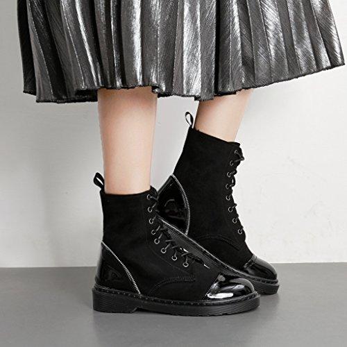 ALUK- Autunno e inverno - scarpe da donna scarpe tacco alto stivali retrò scarpe moda piatte ( Colore : Nero , dimensioni : 38-foot length 240cm ) Nero