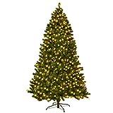 COSTWAY Weihnachtsbaum Künstlicher Tannenbaum mit LED-Lichterketten Christbaum beleuchtet 225/240cm Grün (225CM)