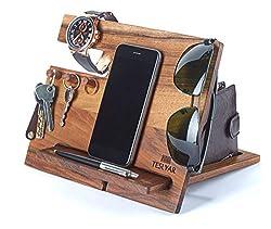 Halterung für Handys aus natürlichem Walnussholz mit Haken Schlüsselhalter Geldbörse Organizer für Herren Geschenk Ehemann Ehefrau Jahrestag Vater