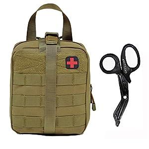Taktischer Molle Rip Away IFAK Beutel(Leer)+Edelstahl Bandage Schere Set-1000D Nylon EMT Tasche Mit Medizinische Shears Erste Hilfe Pouch Set