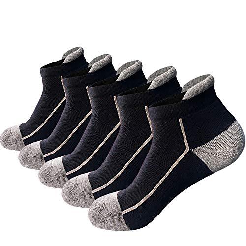 J.W MEET Herren low cut ankle athletische socken Baumwolle mesh-cushioned lauf ventilation sport tab socke Large 5pack Schwarz -
