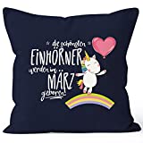 MoonWorks Kissenbezug die schönsten Einhörner Werden im März Geboren 40x40 Baumwolle Geschenk Geburtstag Unicorn Navy 40cm x 40cm