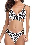 Hawiton Damen Sexy Bikini Sets Push up Bademode Bedeanzug Bedemode Swimsuit mit Muster Schwarz Weiß XL