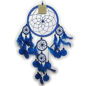 Dreamcatcher - Attrape rêve - 5 Cercles et breloques - Bleu