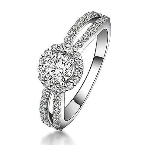 BeyDoDo (Ehering) Damen Ring Silber 925 Trauring Verlobungsring Zirkonia Silberring Ringgröße 57 (18.1)