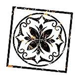 F Fityle Autocollants Carré Auto-Adhésif PVC Diagonale Carrelage Sol Stickers Muraux pour Salle de Bains - Fleur en marbre doré Noir + Bague 40x40cm