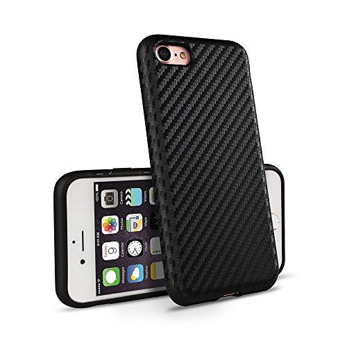 iPhone 7 Plus Coque OKCS® Protecteur Carbon Back Cover Hard Case Bumper - en Noir Noir