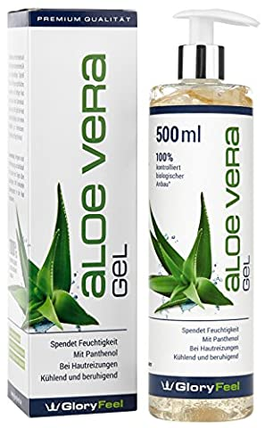 Gel Aloe Vera 500ml–100% Biologique contrôlée de culture–Soin hydratant pour la peau–After Sun Lotion pour le corps à coups de soleil–Testé Dermatologiquement getest–Marque allemande de qualité de gloryfeel